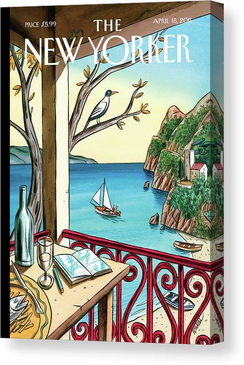 Balcony Canvas Print featuring the painting Drawing While Waiting by Jacques de Loustal