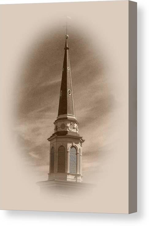 Church Canvas Print featuring the photograph Vintage Steeple by Pharris Art