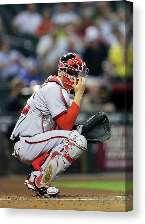Baseball Catcher Canvas Print featuring the photograph Washington Nationals V Arizona by Christian Petersen