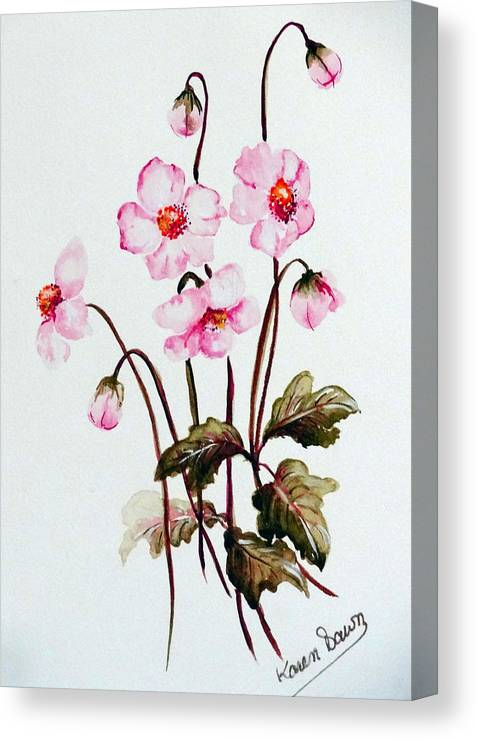Florals Canvas Print featuring the painting Wind Flowers by Karin Dawn Kelshall- Best