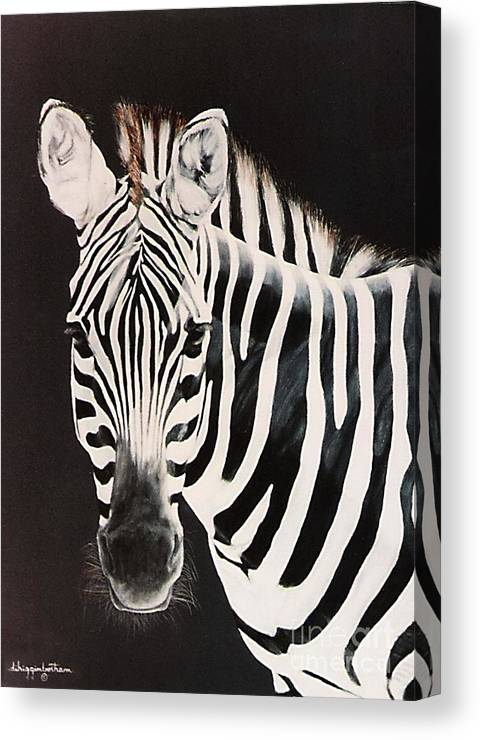 black And White Canvas Print featuring the painting Zebra facing left by DiDi Higginbotham