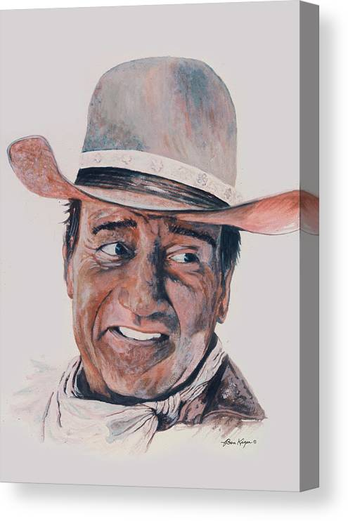 Portrait Canvas Print featuring the painting John Wayne by Ben Kiger