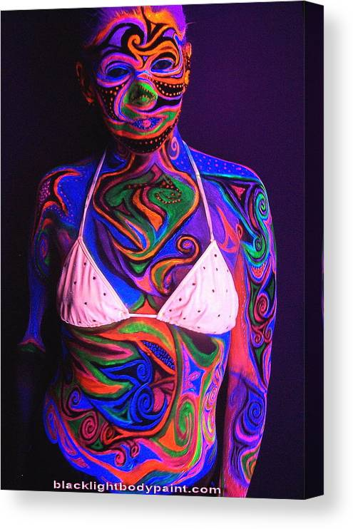 Blacklight Bodypaint Body Art Swimsuit Body Painting Canvas Print Canvas Art By Hilary Leigh