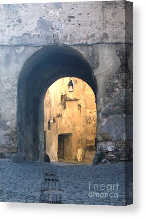 Sighisoara Canvas Print featuring the photograph Old town gate 1 by Amalia Suruceanu