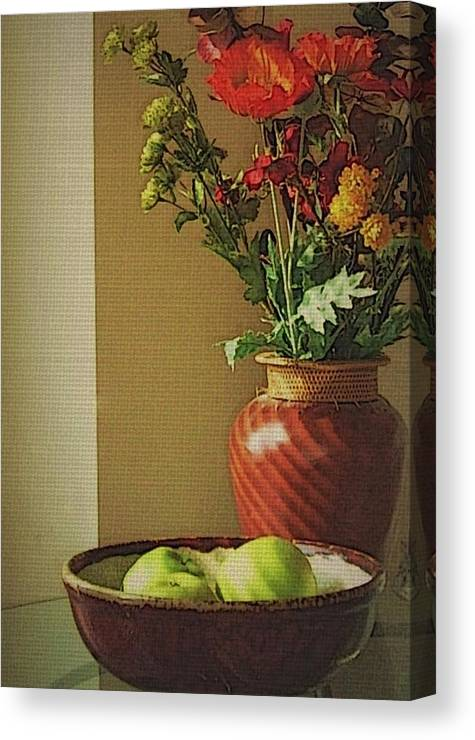 Still Life Canvas Print featuring the photograph Poppies and apples still life by Joseph Ferguson