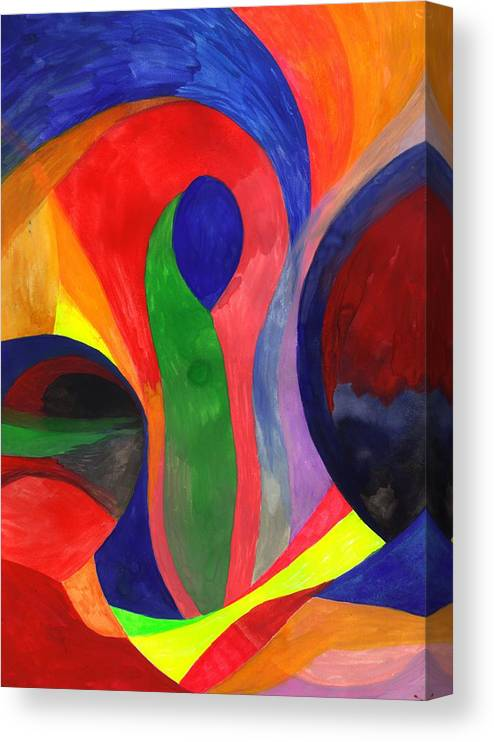 Colorful Canvas Print featuring the painting Solitude in the Crowd by Peter Shor