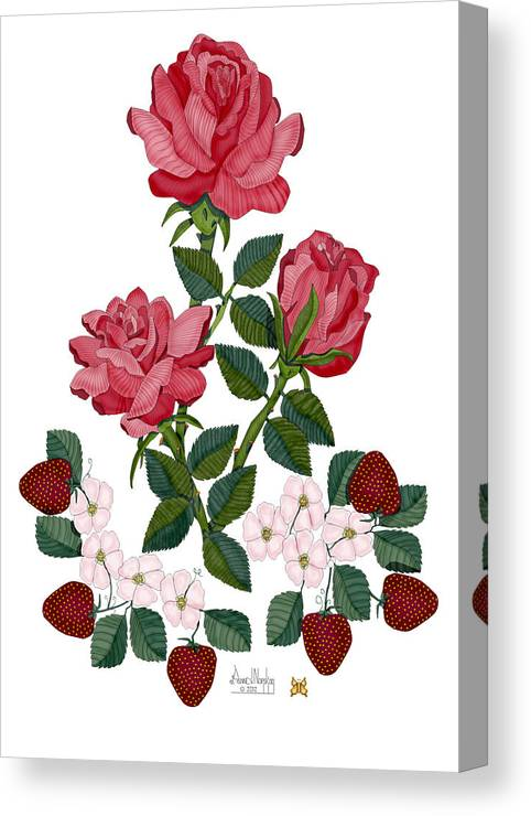 Roses Canvas Print featuring the painting Strawberry Wine and Roses by Anne Norskog