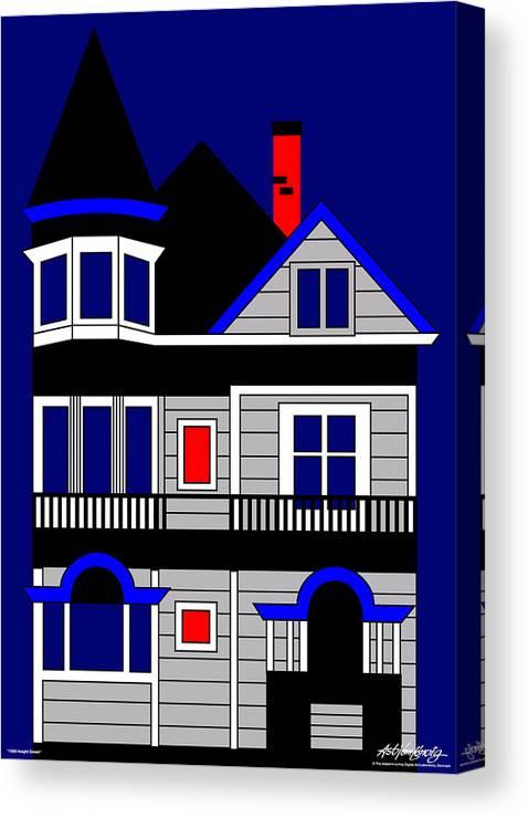 San Francisco Canvas Print featuring the digital art 1080 Haight Street by Asbjorn Lonvig