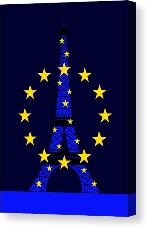 Tour Eiffel Canvas Print featuring the digital art Inspired by the Eiffel Tower and the European Union by Asbjorn Lonvig