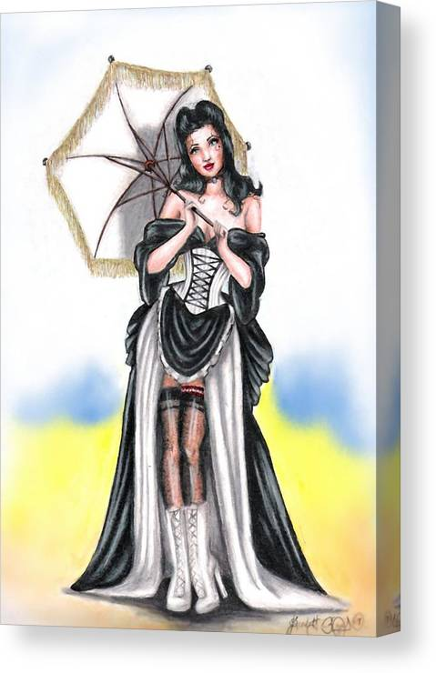Pin-up Canvas Print featuring the drawing Miss Flirt by Scarlett Royal