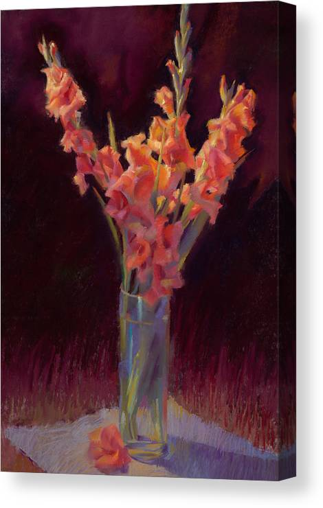 Floral Canvas Print featuring the painting Orange Gladiolus by Cathy Locke