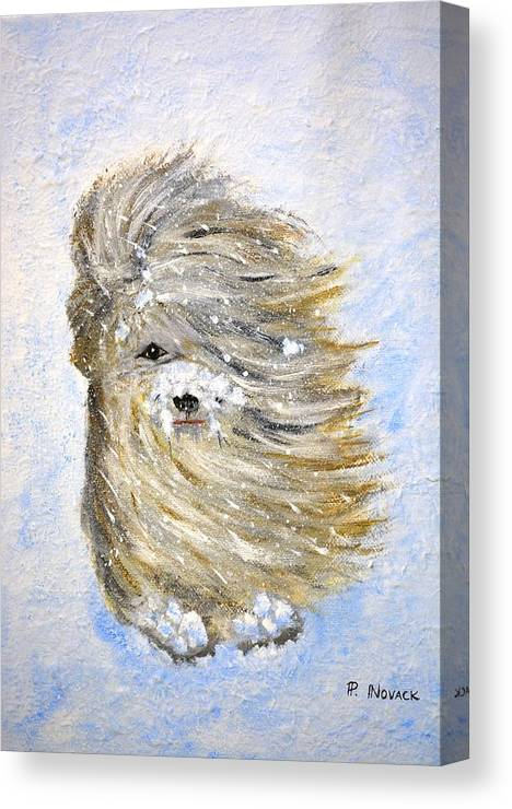 Dog Canvas Print featuring the painting Rufus In The Snow by Patricia Novack