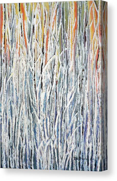 Heavy Frost On Willows Canvas Print featuring the painting Cold Frosty Morn by Dan Bozich