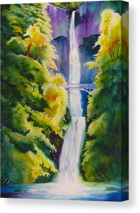 Waterfall Canvas Print featuring the painting A Favorite Place by Karen Stark