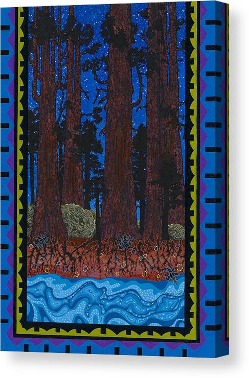 Native American Canvas Print featuring the painting A Forest Whispers by Chholing Taha