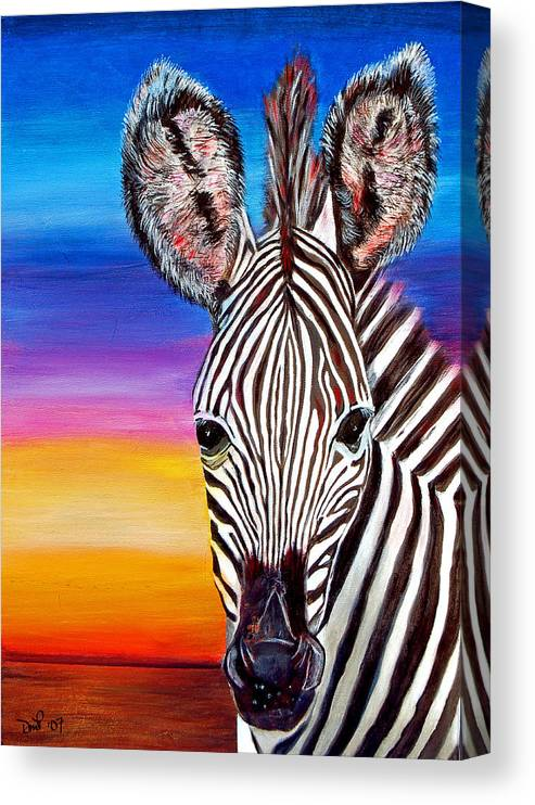 Zebra Canvas Print featuring the painting African Zebra Aura by Donna Proctor
