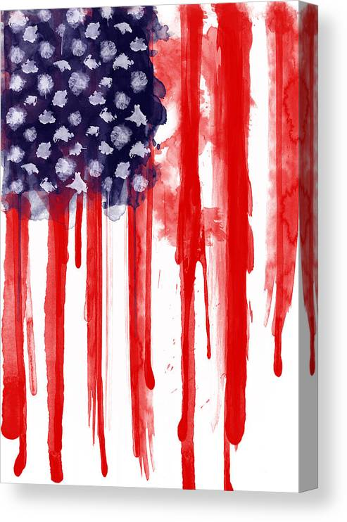 America Canvas Print featuring the painting American Spatter Flag by Nicklas Gustafsson