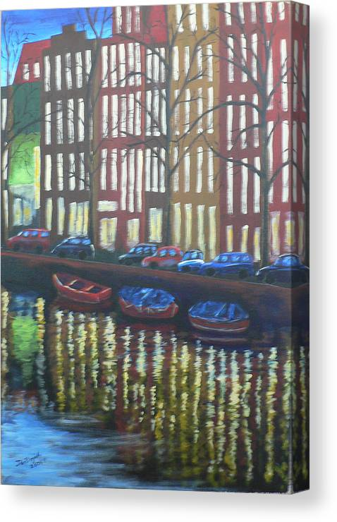 Canal Canvas Print featuring the painting Amsterdam Evening by Dan Bozich