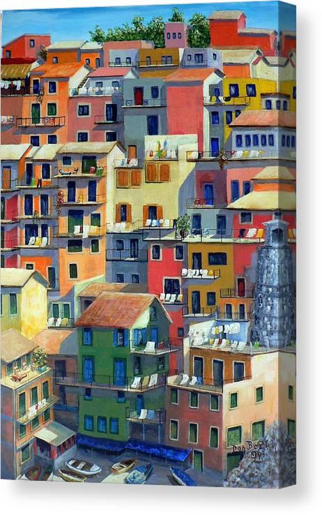 Manarola Canvas Print featuring the painting An Italian Village by Dan Bozich