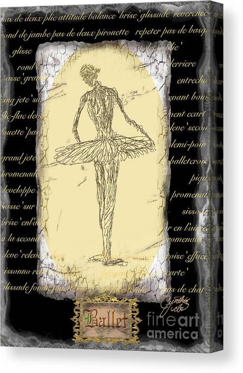 Ballet Canvas Print featuring the digital art Antique Ballet by Cynthia Sorensen