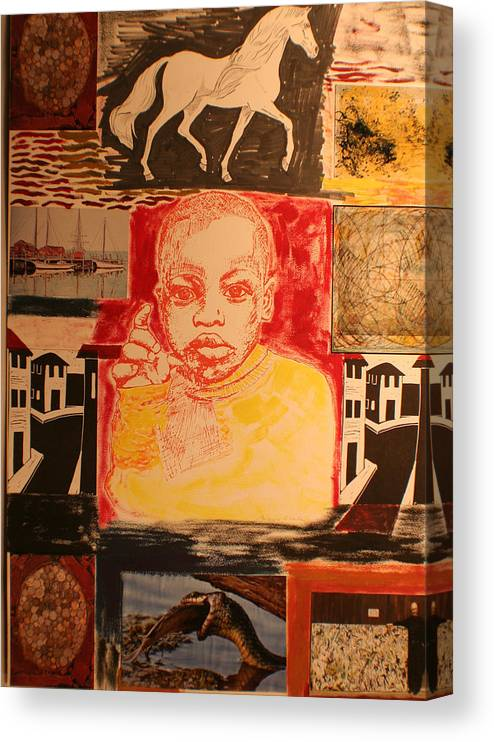Canvas Print featuring the painting Bambino in Harlem by Biagio Civale