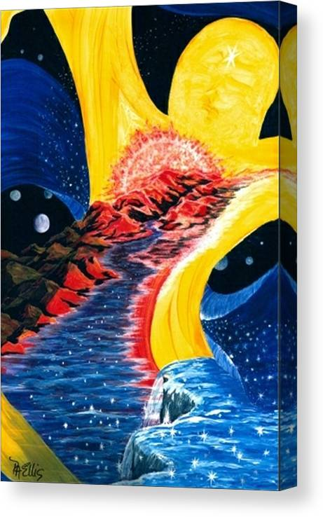 Woman Floating In Space Canvas Print featuring the painting Beauty Within by Pam Ellis