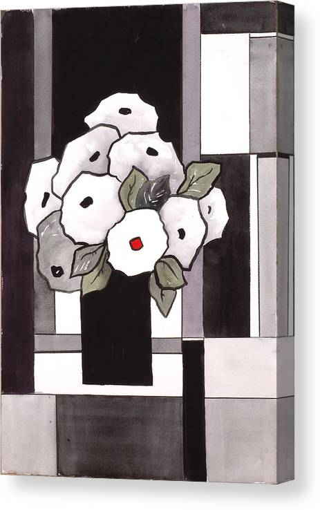 Painting Canvas Print featuring the painting Black and White Funny Flowers by Carrie Allbritton
