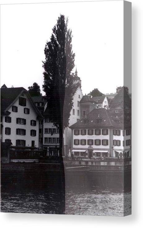 Black And White Canvas Print featuring the photograph Black Lucerne by Christian Eberli