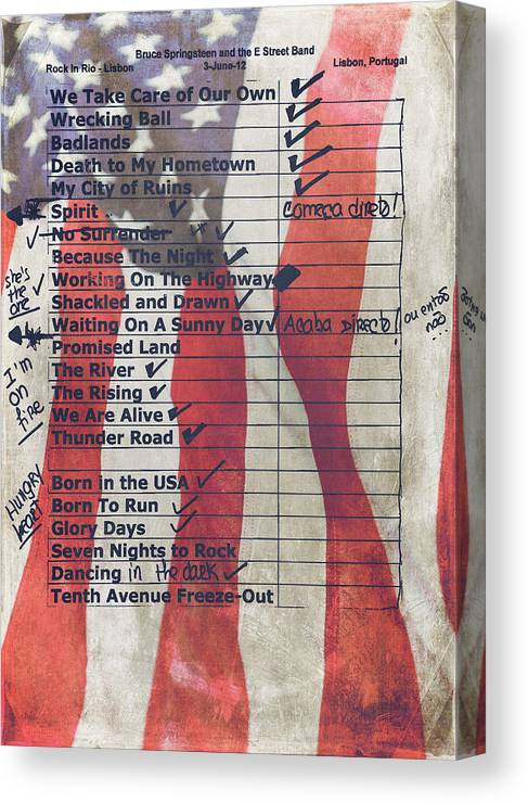 Bruce Springsteen Canvas Print featuring the photograph Bruce Springsteen Setlist at Rock in Rio Lisboa 2012 by Marco Oliveira