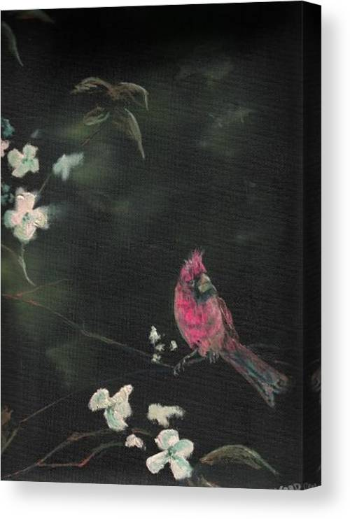 Cardinal Birds Flowers Wildlife Nature Trees Canvas Print featuring the painting Cardinal 1 by Raymond Doward