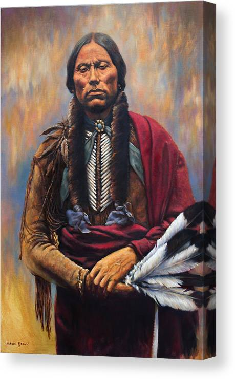 Indian Chief Canvas Print featuring the painting Chief Quanah by Harvie Brown