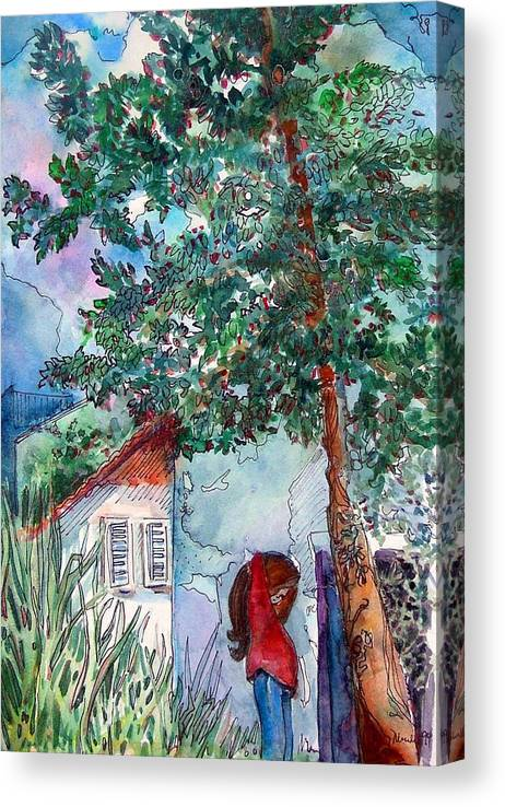 Child Canvas Print featuring the drawing Child of Paros by Mindy Newman