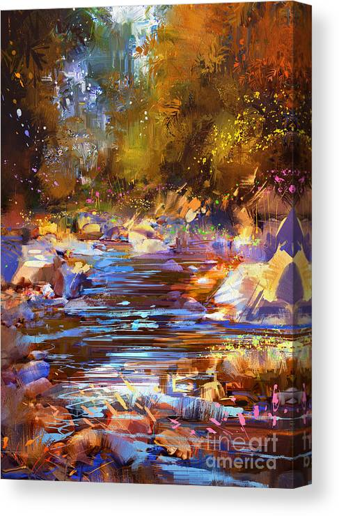 Abstract Canvas Print featuring the painting Colorful River by Tithi Luadthong