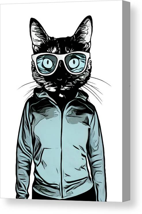 Cat Canvas Print featuring the mixed media Cool Cat by Nicklas Gustafsson