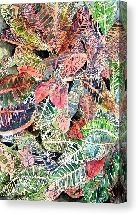 Croton Canvas Print featuring the painting Croton tropical art print by Derek Mccrea