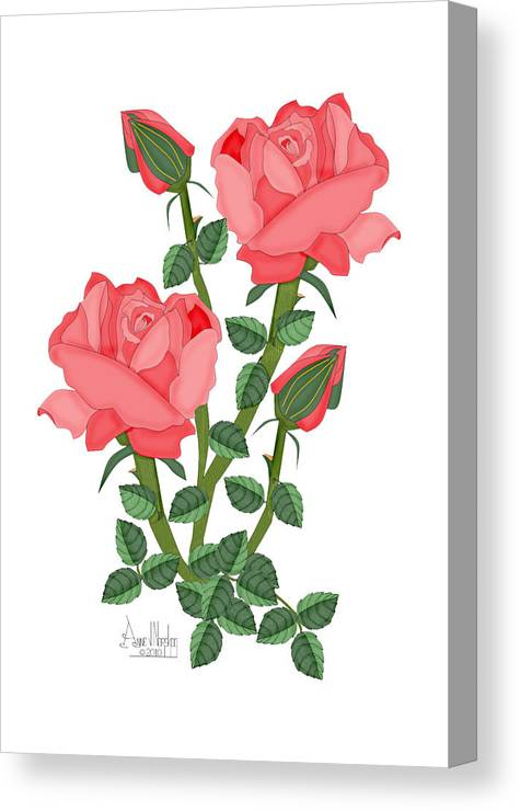 Pink Roses Canvas Print featuring the painting Daiquiri Roses in January 2010 by Anne Norskog