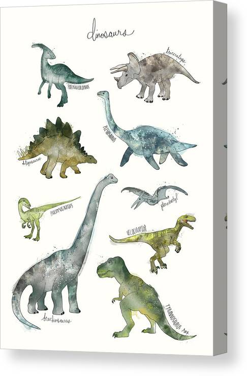 Dinosaurs Canvas Print featuring the painting Dinosaurs by Amy Hamilton