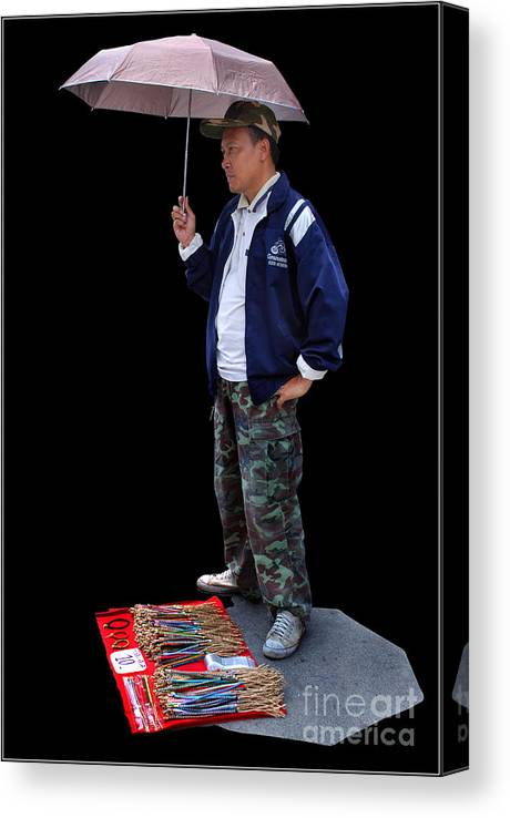 Market Sell Man Entrepreneur Canvas Print featuring the photograph Entrepreneur by Ty Lee