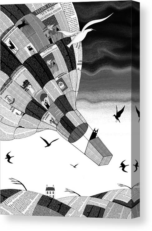 Balloon Canvas Print featuring the mixed media Escape by Andrew Hitchen