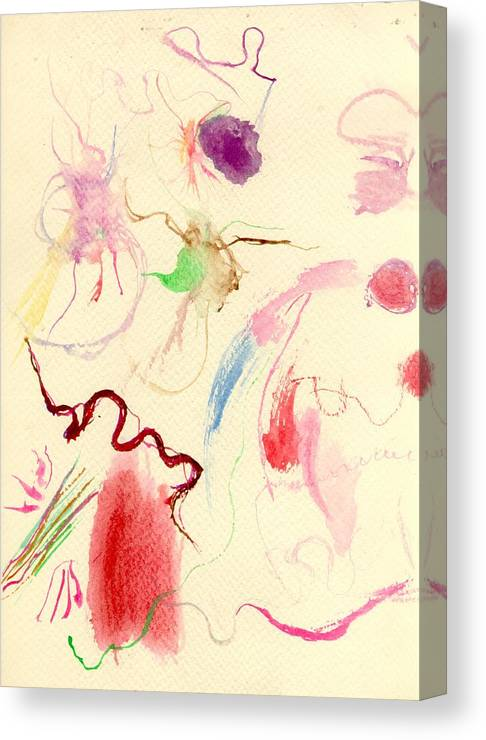 Watercolor Canvas Print featuring the painting Etheric Beings by Peter Shor