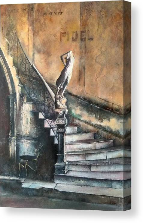 Old Havana Canvas Print featuring the painting Fidel by Tomas Castano