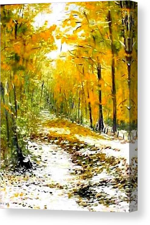 Landscape Canvas Print featuring the painting First Snow by Boris Garibyan