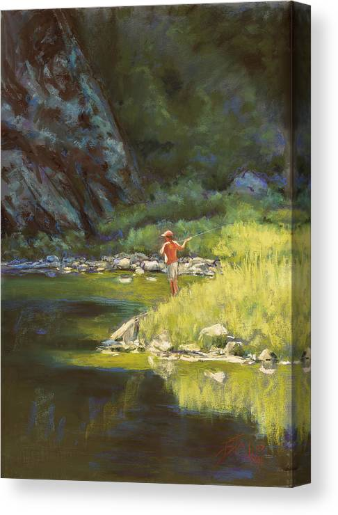 Fly Fisherman Canvas Print featuring the painting Fly Fishing by Billie Colson