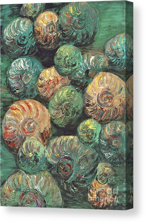 Shells Canvas Print featuring the mixed media Fossil Shells by Nadine Rippelmeyer
