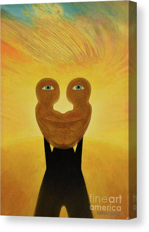Face Canvas Print featuring the painting Gemini. Self-portrait by Oleg Konin
