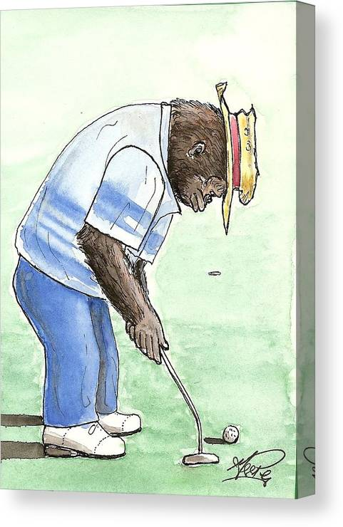 Golf Canvas Print featuring the painting Got You Now by George I Perez