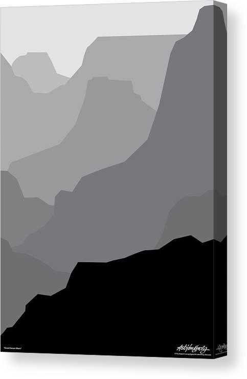 Grand Canyon Black Canvas Print featuring the digital art Grand Canyon Black by Asbjorn Lonvig