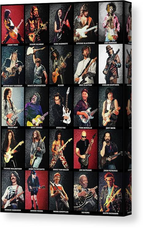 Guitar Canvas Print featuring the digital art Greatest Guitarists Of All Time by Zapista OU