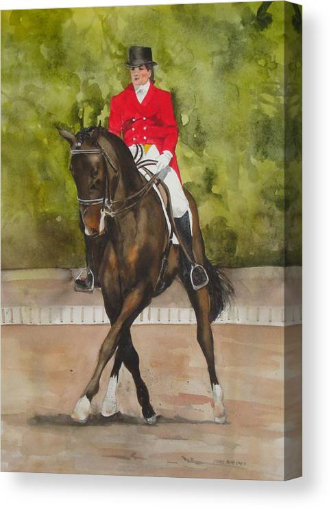 Horse Canvas Print featuring the painting Half-Pass To The Right by Jean Blackmer