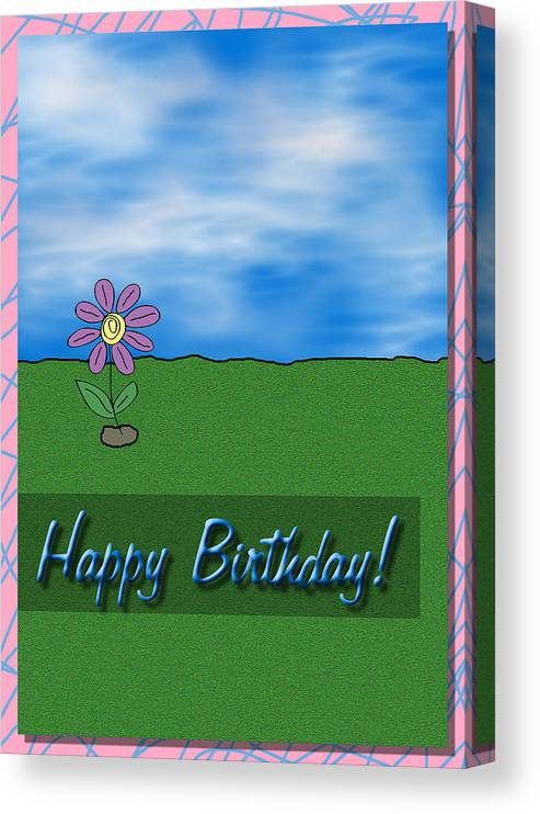 Birthday Canvas Print featuring the digital art Happy Birthday Greeting Card by Kenneth Krolikowski